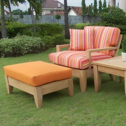 WholesaleTeak Outdoor Patio Grade-A Teak Wood Atnas 2 Piece Teak Sofa Lounge Chair Set -1 Lounge Chair with Ottoman - Furniture only #WMSSAT1