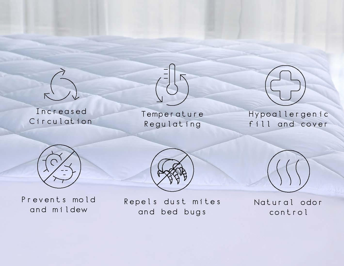 Mainstays Solutions, Quilted Mattress Pads w/ Odor and Temperature Control, Full