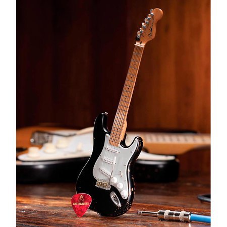 Axe Heaven Fender Stratocaster Black Vintage Distressed Miniature Guitar Replica Collectible