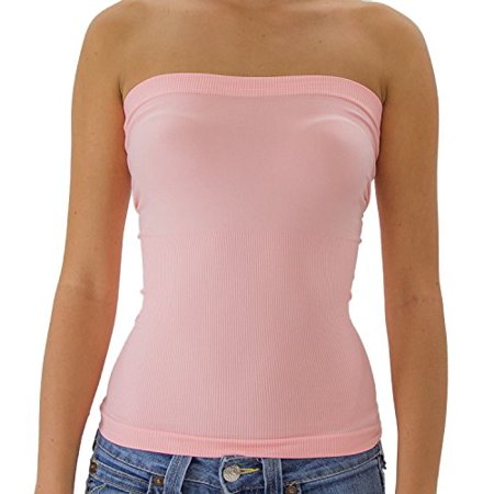 0ca1bbcdea TD Collections - TD Women s Plain Stretch Seamless Strapless Mid Tube Top (Light  Pink) - Walmart.com