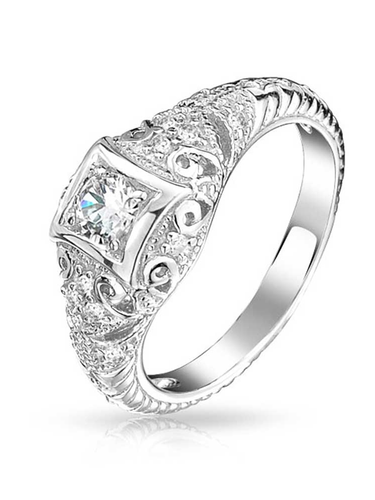 Princess Kylie Round Bezel Set Cubic Zirconia Pave Set Sides Ring Rhodium Plated Sterling Silver