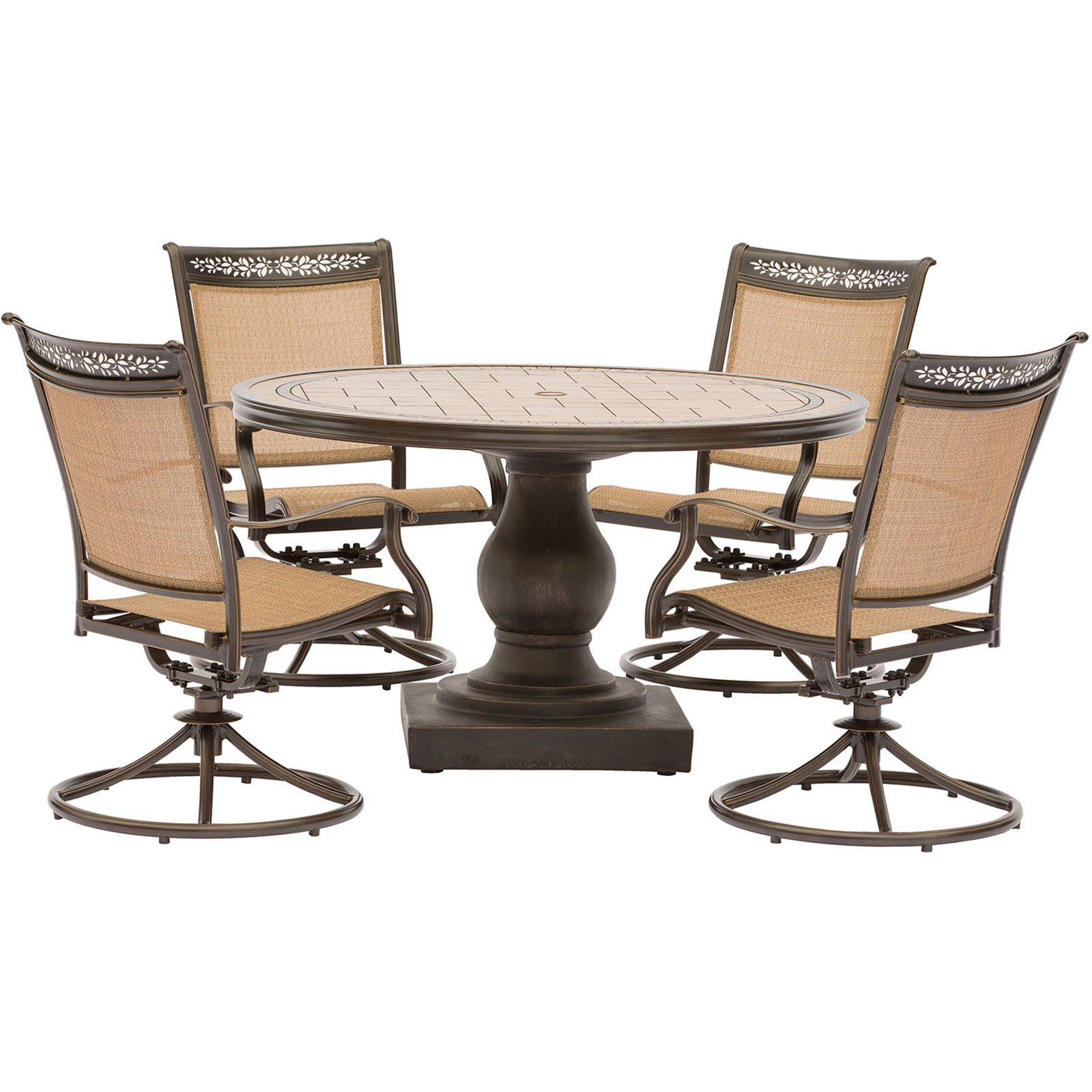 Hanover Fontana 5-Piece Outdoor Dining Set with Swivel Rockers and Tile-Top Table
