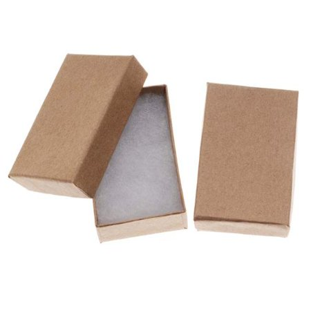 Kraft Brown Cardboard Jewelry Boxes (16 Pack), 2.5 x 1.5 x 1