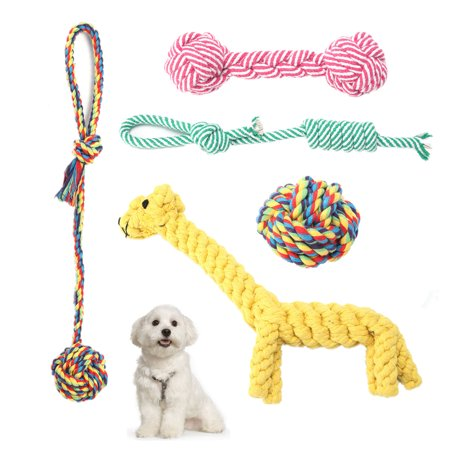 5 Styles/set Pet Dogs Rope Toys Puppy Dog Braided Rope Chew Durable Interactive Cotton Toys Dental Health Teeth - Dental Cotton Rope Toys