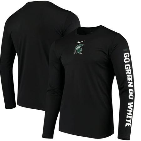 Michigan State Spartans Nike Week Zero Trainer Hook Performance Long Sleeve T-Shirt - Black -