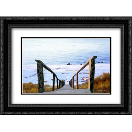 Sound Beach 2x Matted 24x18 Black Ornate Framed Art Print by Romanello, Diane