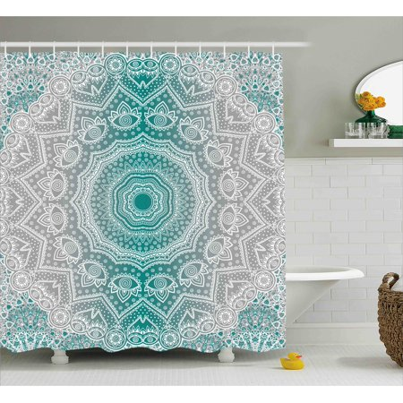 Grey and Teal Shower Curtain, Mandala Ombre Sacred Geometry Occult Pattern with Flower Lines Display Artwork, Fabric Bathroom Set with Hooks, 69W X 70L Inches, Teal Grey, by Ambesonne (Shower Curtain Teal Grey)