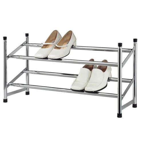 Expandable Chrome-colored 2-tier Shoe Rack