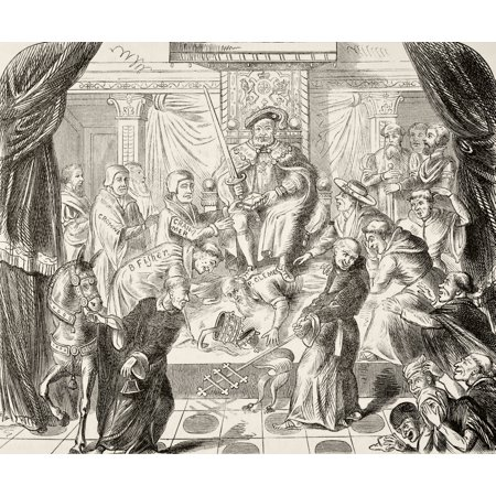 Allegorical Picture Of King Henry Viii Of England Trampling On Pope Clement Vii From The National And Domestic History Of England By William Aubrey Published London Circa 1890