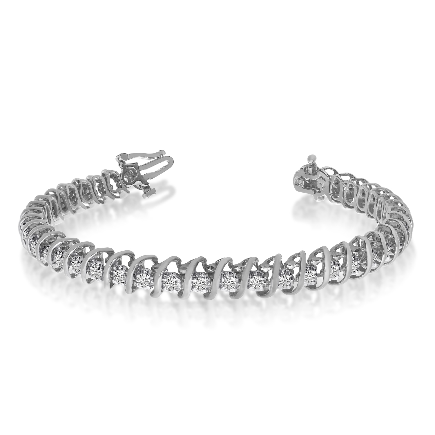 14k White Gold 2 Ct. S Illusion Bracelet by