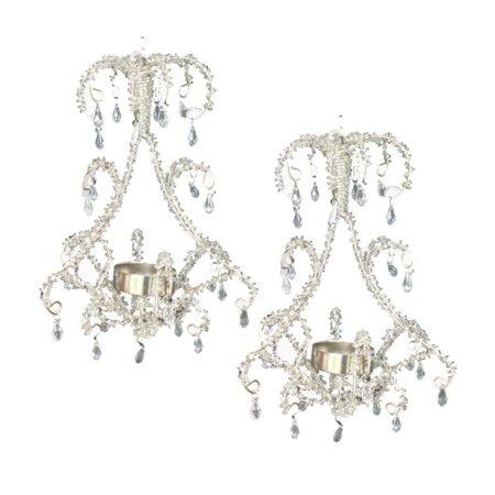 Set of 2 clear beaded hanging chandelier tealight candle holder 75 set of 2 clear beaded hanging chandelier tealight candle holder 75 aloadofball Choice Image