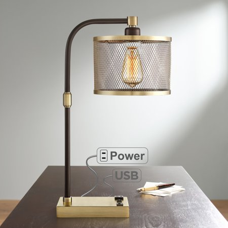 360 Lighting Brody Antique Brass Desk Lamp With Usb And Outlet - 360 Lighting Brody Antique Brass Desk Lamp With Usb And Outlet