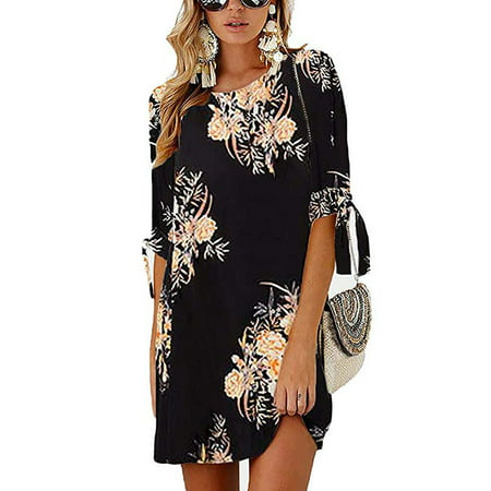 Women's Summer Round Neck Printed Casual Mini Dress](20s Era Dresses)