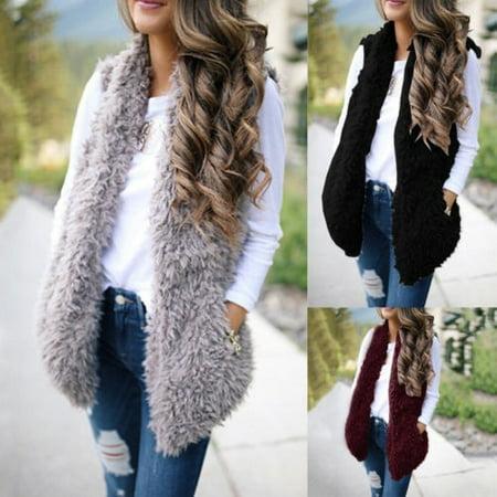 Fashion Womens Winter Warm Sleeveless Fleece Jacket Ladies Cashmere Long-Haired Vest Coat
