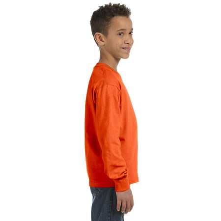 Fruit of the Loom Youth Crewneck Long-Sleeve T-Shirt, BURNT ORANGE, Small for $<!---->