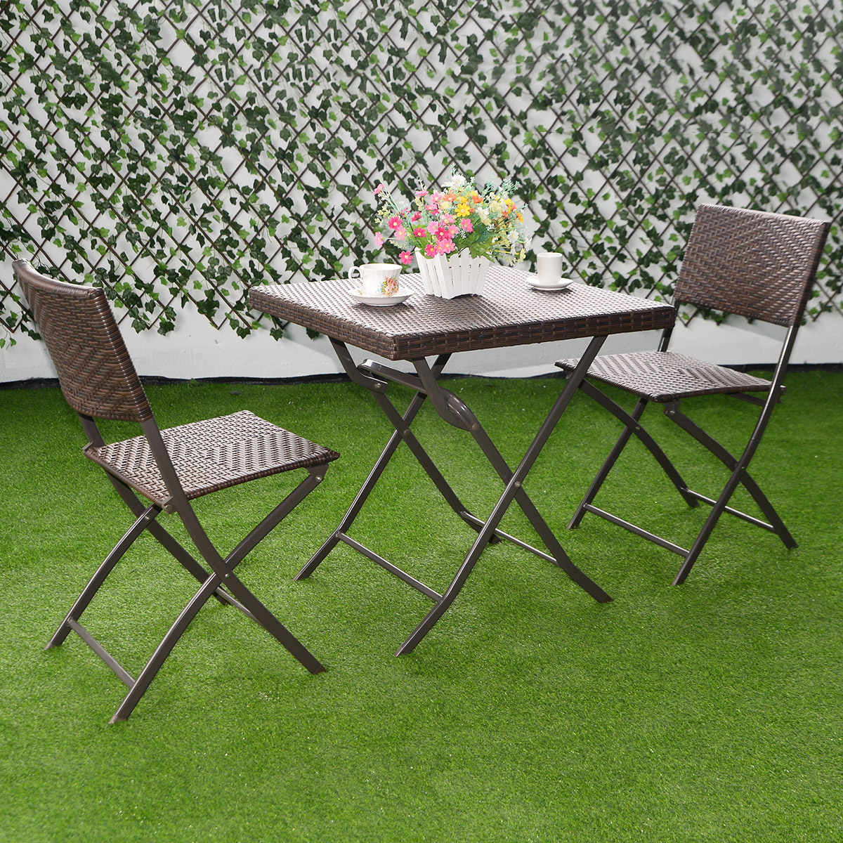 Costway 3 PC Outdoor Folding Table Chair Furniture Set Rattan Wicker Bistro Patio Brown - Walmart.com & Costway 3 PC Outdoor Folding Table Chair Furniture Set Rattan Wicker ...
