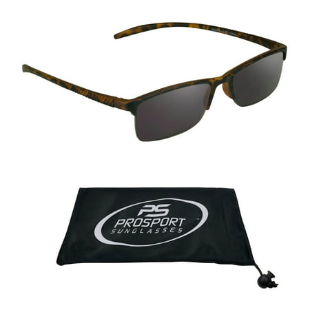 proSPORT Reading SunGlasses with Tinted Readers for Men and Women. Semi rimless Square Tortoise Shell Brown Frame. NOT BIFOCAL Blades Tortoise Shell