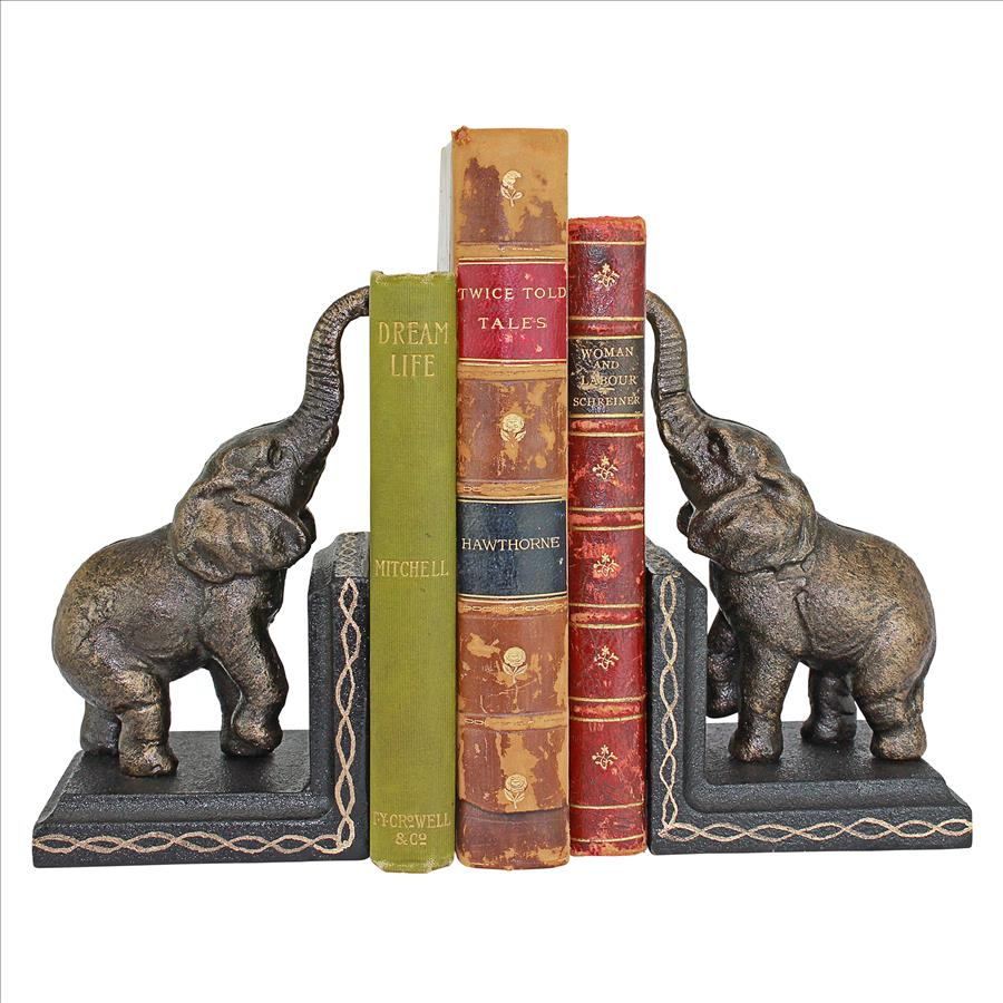 Triumphant Elephant Cast Iron Sculptural Bookend Pair
