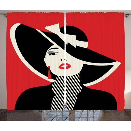 - Girls Curtains 2 Panels Set, French Style Icon in Shabby Chic Classical Vintage Hat and Striped Coat Design Print, Window Drapes for Living Room Bedroom, 108W X 84L Inches, Red Black, by Ambesonne
