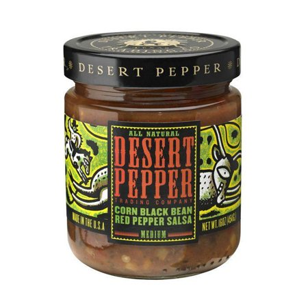Desert pepper corn, black bean & red pepper salsa, 16 oz (pack of 6)