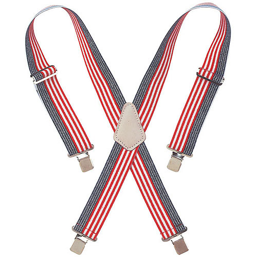 """Custom Leathercraft 110USA 2"""" Wide Red, White and Blue Work Suspenders"""