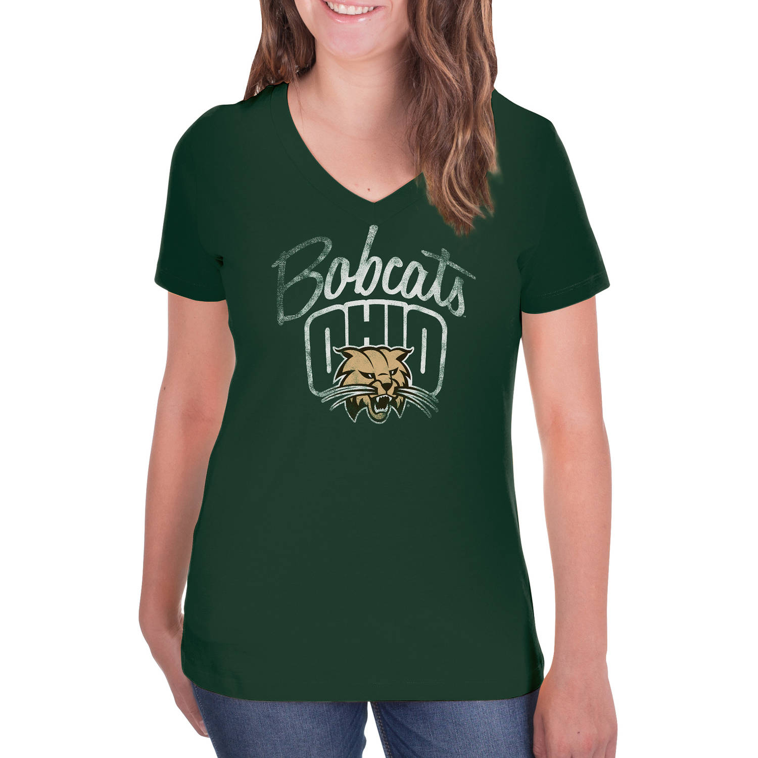 NCAA Ohio Bobcats Women's V-Neck Tunic Cotton Tee Shirt