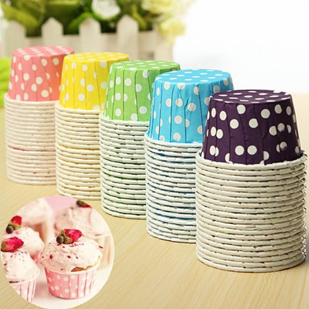 20pcs Cupcake Liner Muffin Candy Nut Snack Greaseproof Dessert Baking Cups 6 Colors,red color for $<!---->