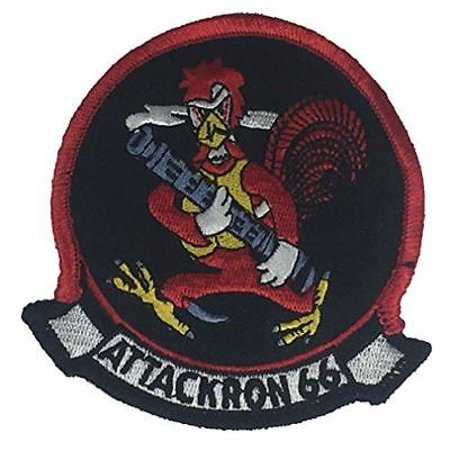 USN ATTACKRON 66 ATTACK SQUADRON VA-66 PATCH WALDOS ROOSTER MACHINE (Attack Rooster)