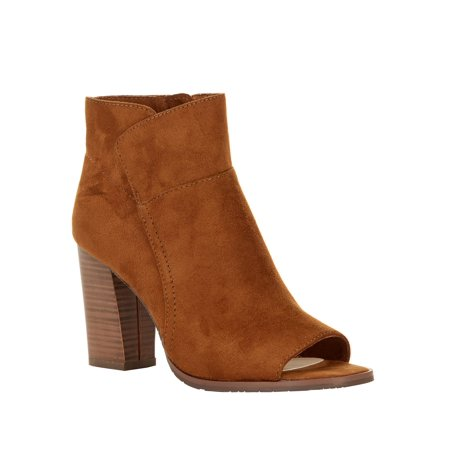 Melrose Ave Vegan Suede Peep Toe Block Heel Bootie (Womens)