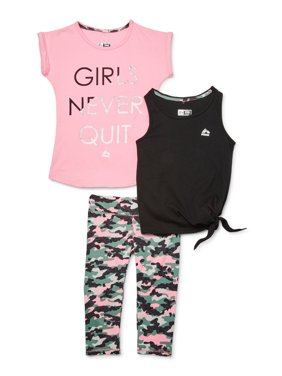 RBX Girls 4-12 Graphic Performance T-shirt, Side Tie Tank Top and Camo Capri Performance Leggings, 3-Piece Active Set