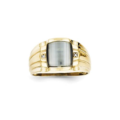 10k Yellow Gold Gray Cats Eye & .01ct Diamond Mens Ring