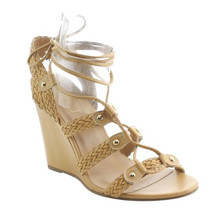 d4af2ccc83aa Yoki - YOKI AG10 Women s Ankle Wrap Lace Up Braided Wedge Sandals -  Walmart.com