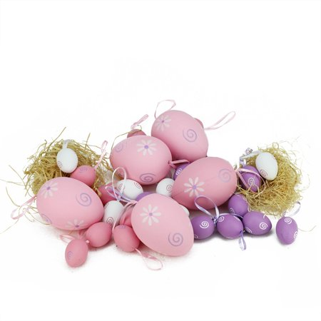 Set of 29 Pastel Pink White and Purple Painted Floral Spring Easter Egg Ornaments 3.25
