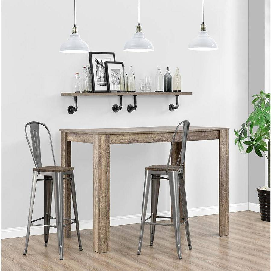 Dorel Home Products Luxor Metal Bar Stool with Wood Seat Set of 2