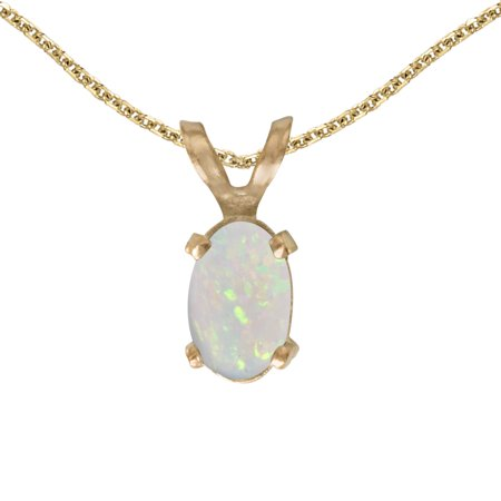 Yellow Gold Oval Cable Chain (14k Yellow Gold Oval Opal Pendant with 18
