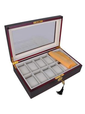 Wood Watch Display Case Organizer Box Xmas Holiday Men/Women Gift 6/10/12/20/24 Slots Opt