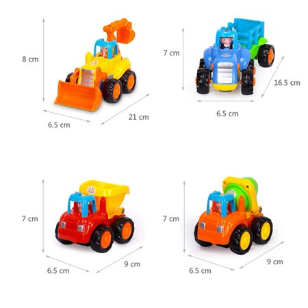 Happy Engineering Vehicles Cartoon Friction Powered Push and Go Vehicles for Toddlers (Dumper, Cement Mixer, Bulldozer, Tractor)