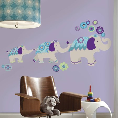 Waverly Teal and Purple Elephant Mega Peel and Stick Giant Wall Decals