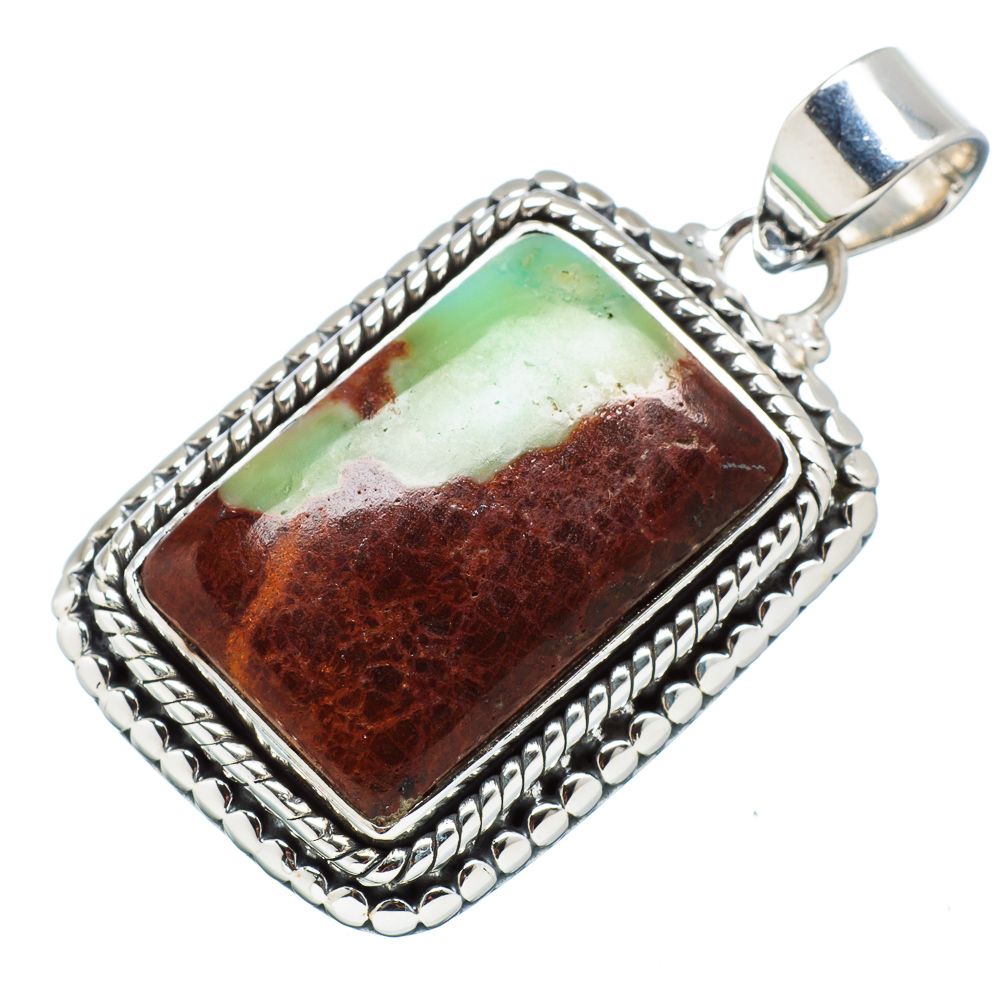"""Ana Silver Co Boulder Chrysoprase Pendant 1 1 2"""" (925 Sterling Silver) Handmade Jewelry PD613354 by Ana Silver Co."""