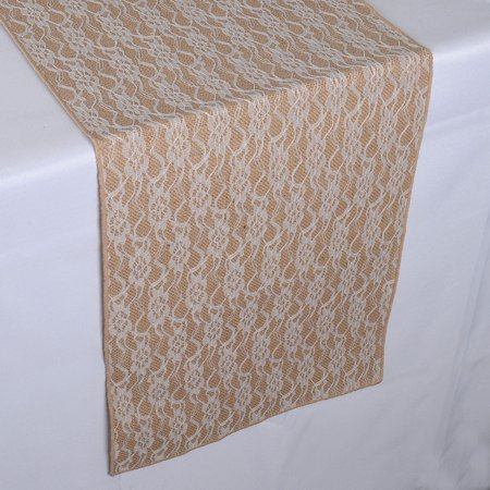Lace Flower Burlap Table Runner ( 14 inch x 108 inches )