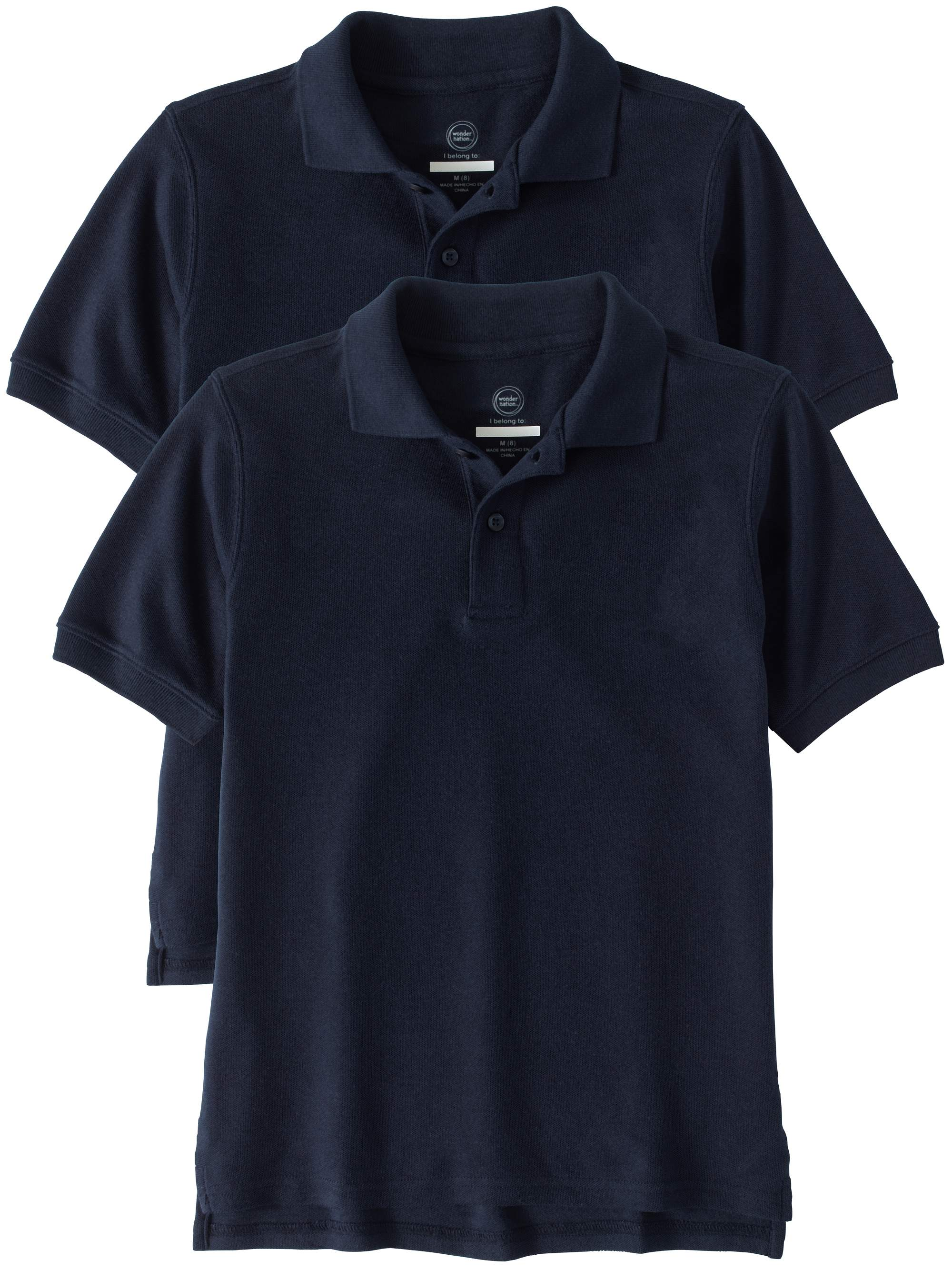 Boys Husky School Uniform Short Sleeve Double Pique Polo, 2-Pack Value Bundle