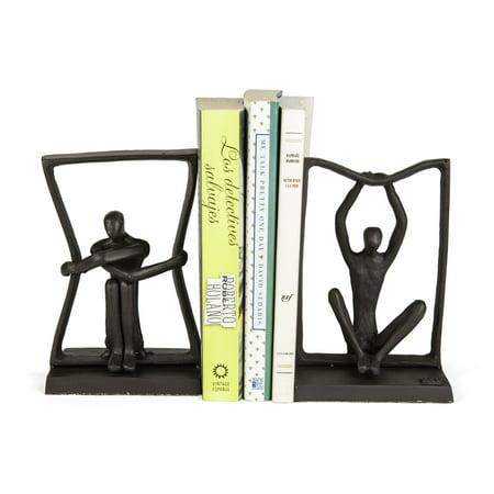 Danya B. Stretching Boundaries Iron Bookend Set – Decorative Modern Metal Sculpture Bookends