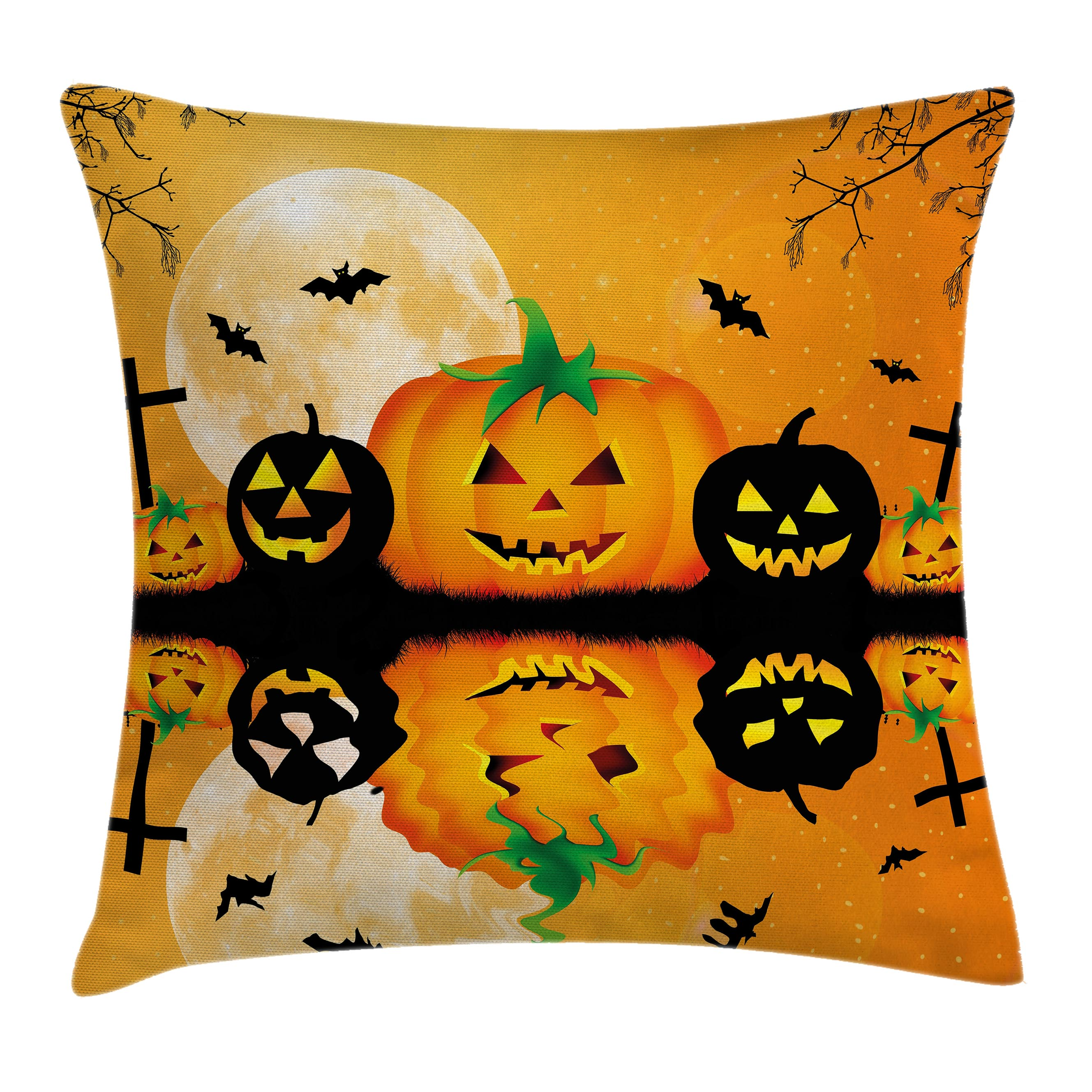 Halloween Decorations Throw Pillow Cushion Cover, Spooky Carved Halloween Pumpkin Full Moon with Bats and Grave Lake, Decorative Square Accent Pillow Case, 20 X 20 Inches, Orange Black, by Ambesonne