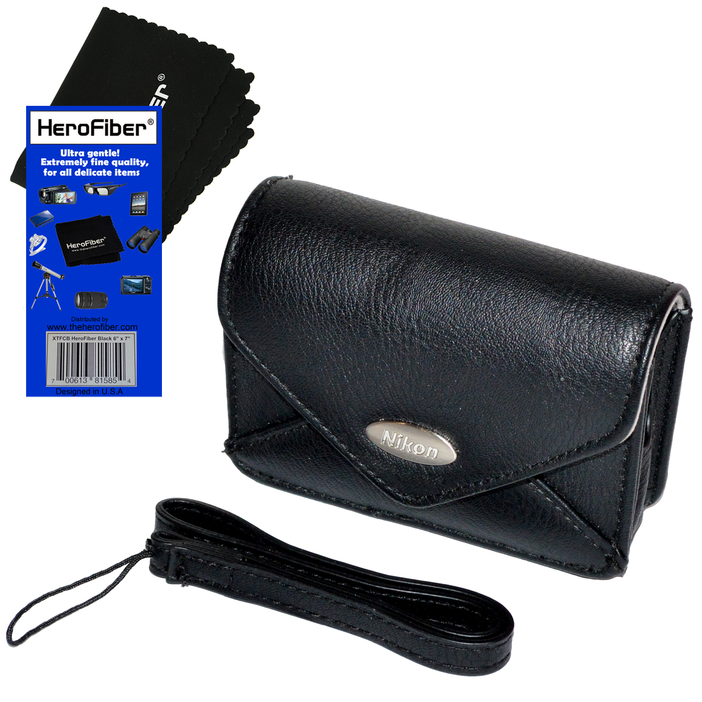 Nikon Leather Like Carrying Case with Wrist Strap for Nikon Coolpix A10, A100, A300, L31, L32, S3100, S3200, S3300, S3500, S3600 & S3700 Cameras + HeroFiber® Ultra Gentle Cleaning Cloth