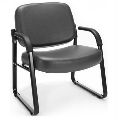 Kingfisher Lane Reception Vinyl Guest Chair with Arms in Charcoal