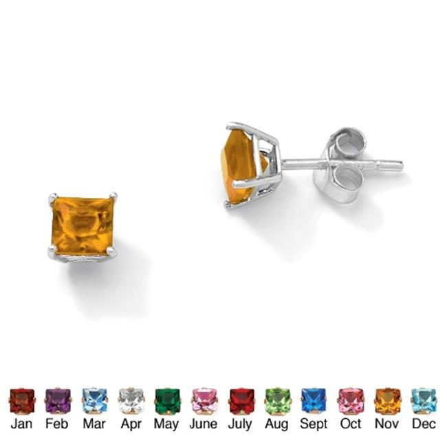 PalmBeach Jewelry 5062911 Sterling Silver Princess-Cut Birthstone Stud Pierced Earrings November - Simulated Citrine