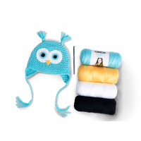 Caron Snowy Owl Crochet Hat, Crochet Kit, 0-3 mos. by Repeat Crafter Me