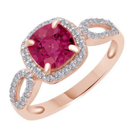 Cushion Cut Simulated Pink & White Sapphire Solitaire Ring in 14k Rose Gold Over Sterling Silver (1.57 Cttw) Ring Size - 4