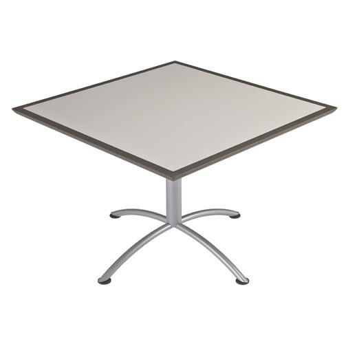 """Iceberg iLand Café Urethane Table, 42"""" Square, Gray Top/Silver Base"""