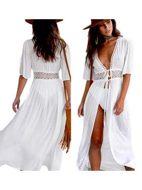 Women Sexy Beach Bikini Cover up Long Kaftan dress Summer Boho Maxi Dress Swimwear Swimsuit